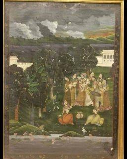 لوحه هندي قديمه ونادره علي حرير